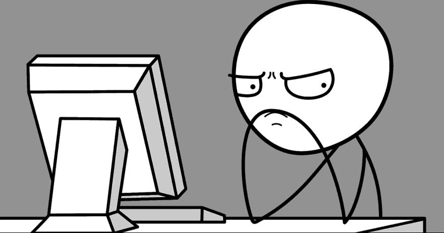 איש עצבני ליד מחשב (איור)