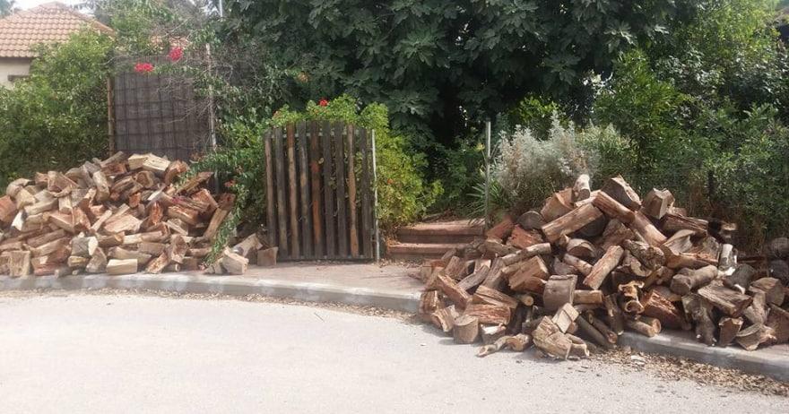 ערימות עצים בכניסה לבית שלנו