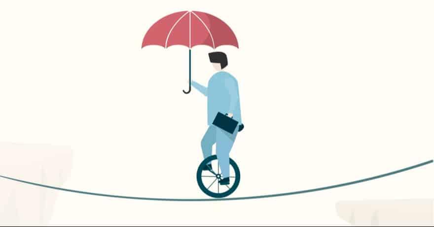 איש על חד אופן ומטרייה (צילום: rawpixel / CC0)