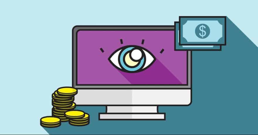 איור של מחשב עם מטבעות ושטרות, ובמרכז המסך עין (צילום: rawpixel / CC0)