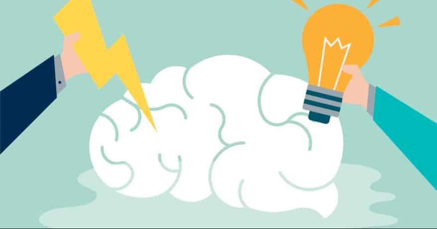 איור של מוח עם מחשבות וברק (CC0)