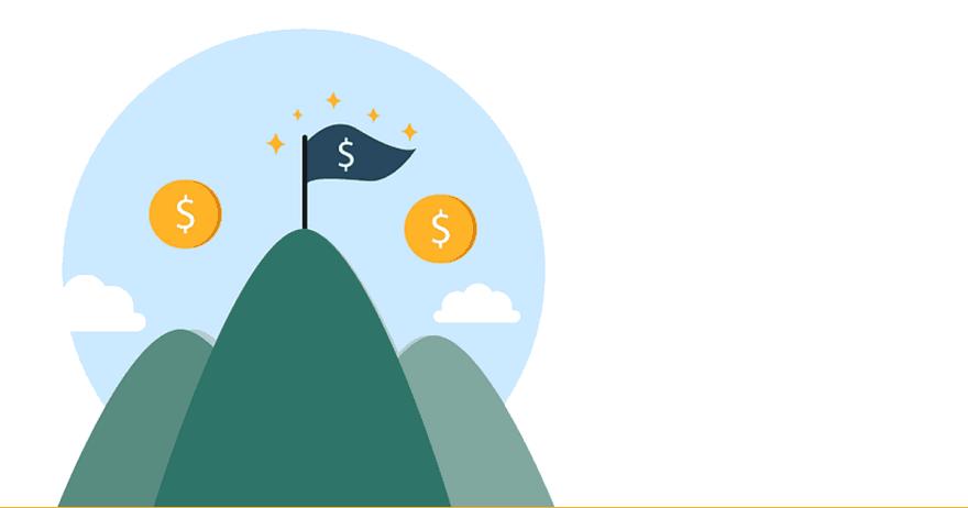 איור של פסגה של הר עם סימני דולר (CC0)