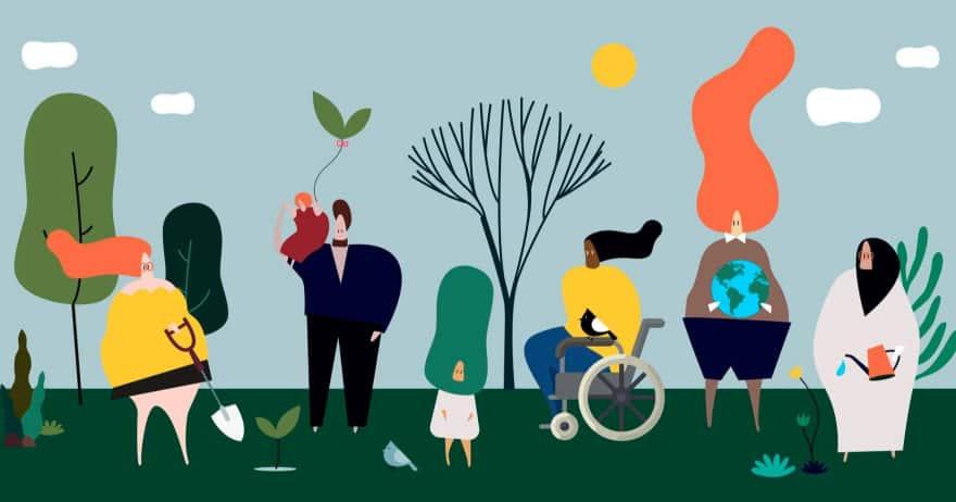 אחריות ואתיקה (אילוסטרציה, איור של אנשים בטבע) (CC0)