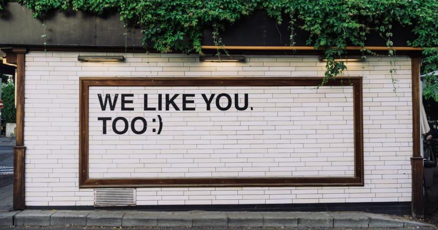 שלט חנות - we like you too :) (CC0)